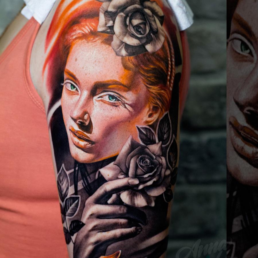 Tattoo Brust Männerprotrait