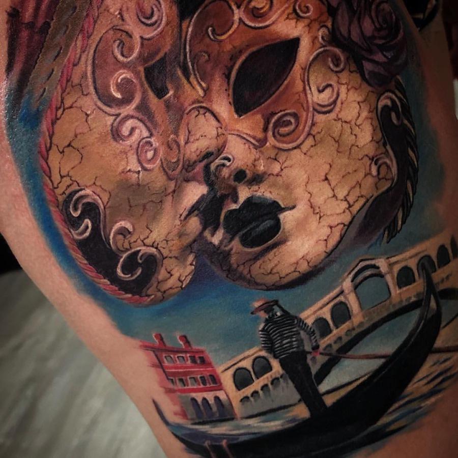 Tattoos Schienbein Portrait Mann und Frau Dotwork