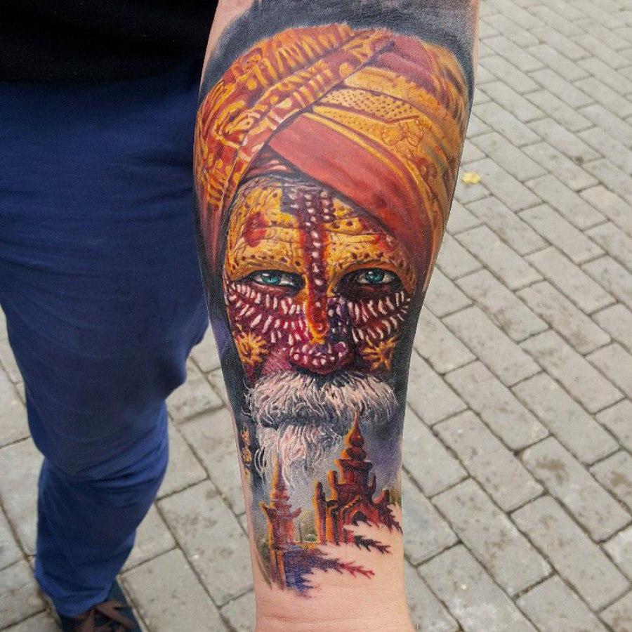 Tattoo Wade Anker und Welle Dotwork