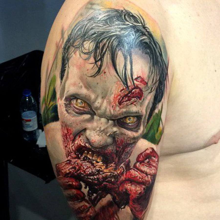 Tattoo Unterarm Hummel mit Blumen Dotwork
